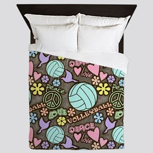 Peace, Love, Volleyball Queen Duvet