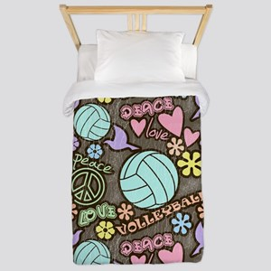 Peace, Love, Volleyball Twin Duvet
