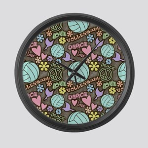 Peace, Love, Volleyball Large Wall Clock