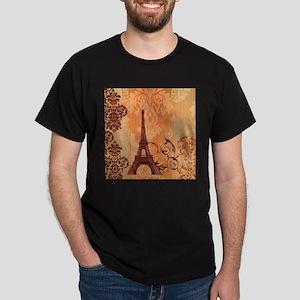 orange damask modern paris eiffel tower T-Shirt