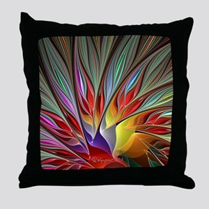Fractal Bird of Paradise Wide Throw Pillow