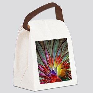 Fractal Bird of Paradise Wide Canvas Lunch Bag