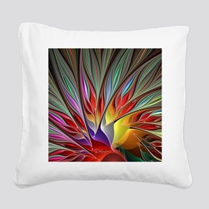 Fractal Bird of Paradise Wide Square Canvas Pillow
