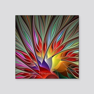 "Fractal Bird of Paradise Wi Square Sticker 3"" x 3"""
