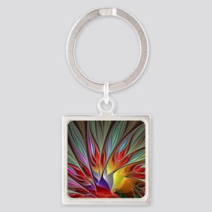 Fractal Bird of Paradise Wide Square Keychain