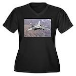 F-18 Hornet Women's Plus Size V-Neck Dark T-Shirt