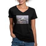 F-18 Hornet Women's V-Neck Dark T-Shirt