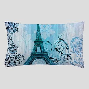 blue damask modern paris eiffel tower Pillow Case