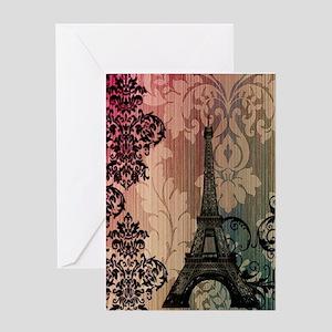 vintage damask modern paris eiffel tower Greeting