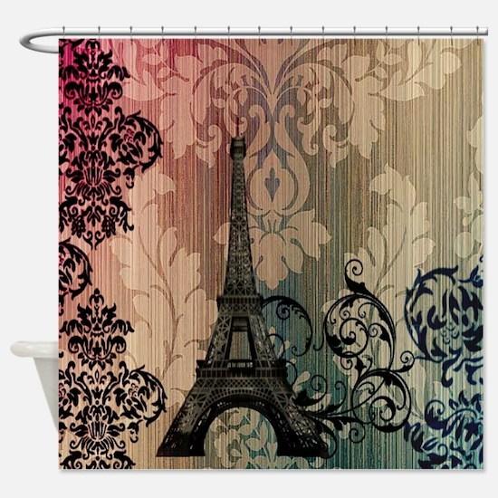vintage damask modern paris eiffel tower Shower Cu