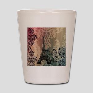 vintage damask modern paris eiffel tower Shot Glas