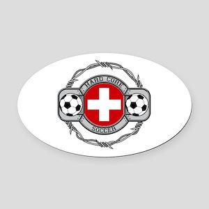 Switzerland Soccer Oval Car Magnet