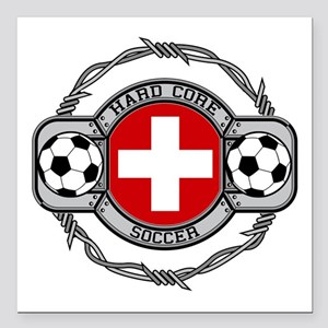 "Switzerland Soccer Square Car Magnet 3"" x 3"""