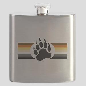 Gay Bear Pride Stripes Bear Paw Flask