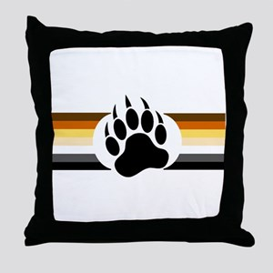 Gay Bear Pride Stripes Bear Paw Throw Pillow
