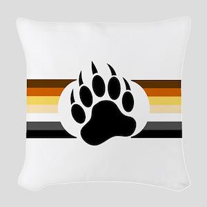 Gay Bear Pride Stripes Bear Paw Woven Throw Pillow