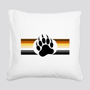 Gay Bear Pride Stripes Bear Paw Square Canvas Pill
