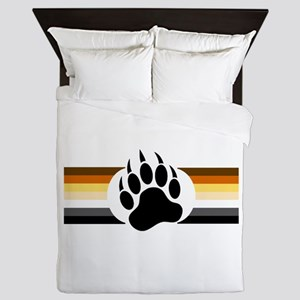 Gay Bear Pride Stripes Bear Paw Queen Duvet
