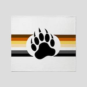 Gay Bear Pride Stripes Bear Paw Throw Blanket