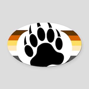 Gay Bear Pride Stripes Bear Paw Oval Car Magnet
