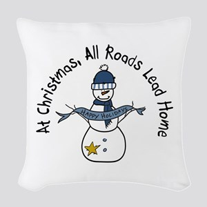 At Christmas All Roads Lead Home Woven Throw Pillo