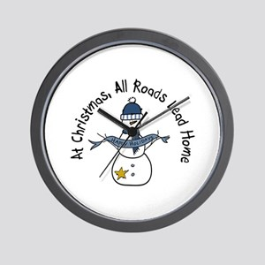 At Christmas All Roads Lead Home Wall Clock