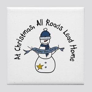 At Christmas All Roads Lead Home Tile Coaster
