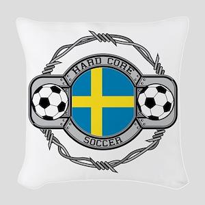 Sweden Soccer Woven Throw Pillow