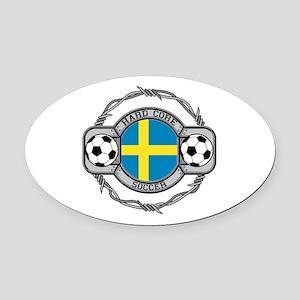 Sweden Soccer Oval Car Magnet