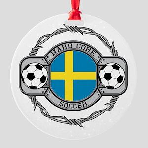 Sweden Soccer Round Ornament