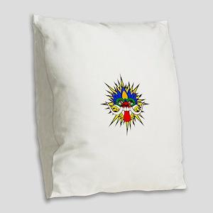 Bali mask Burlap Throw Pillow