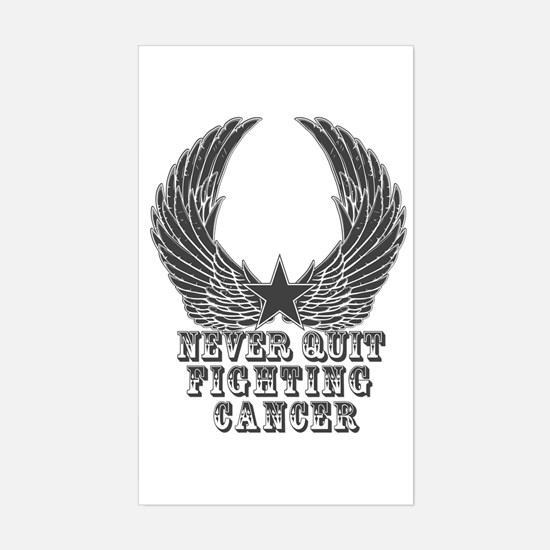 Never Quit Fighting Cancer Sticker (Rectangle)