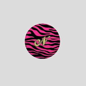 HOT PINK ZEBRA GOLD N Mini Button