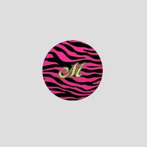 HOT PINK ZEBRA GOLD M Mini Button