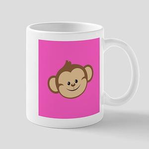 Cute Monkey on Pink Mugs