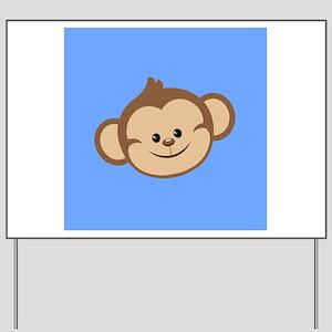 Cute Monkey on Blue Yard Sign