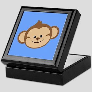 Cute Monkey on Blue Keepsake Box