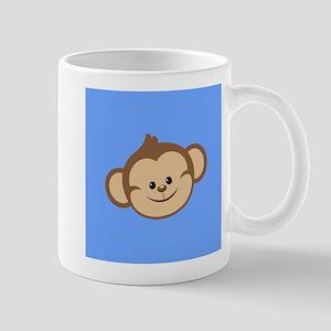 Cute Monkey on Blue Mugs
