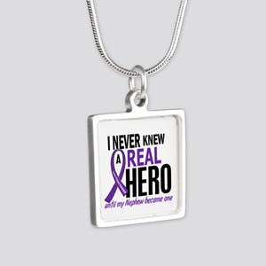 Cystic Fibrosis Real Hero Silver Square Necklace