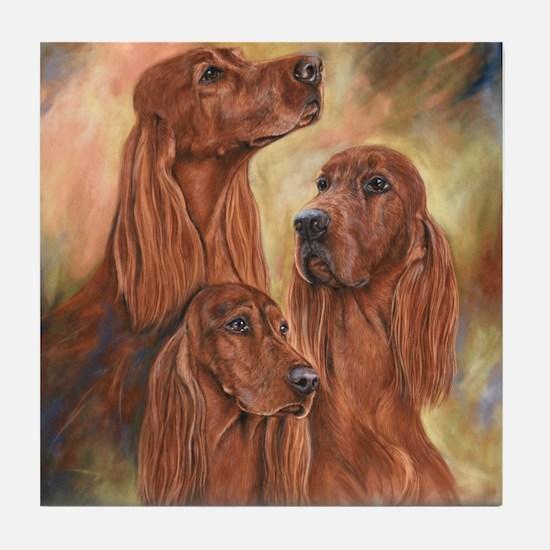 Three Irish Setters by Dawn Secord Tile Coaster