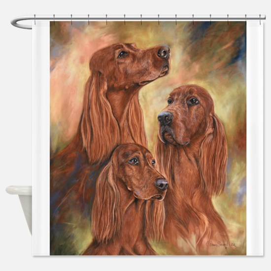 Three Irish Setters by Dawn Secord Shower Curtain