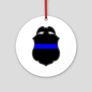 Blue Line Badge 3 Ornament (Round)