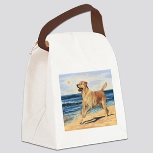 Lab on Beach Canvas Lunch Bag