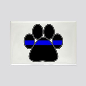 Blue Line K9 Paw Rectangle Magnet