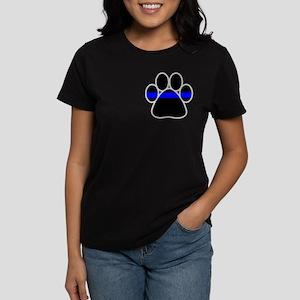 Blue Line K9 Paw Women's Dark T-Shirt