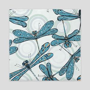 Blue Dragonflies Queen Duvet