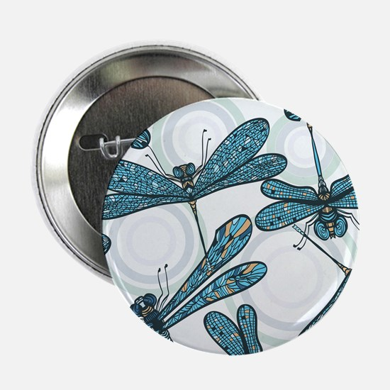"Blue Dragonflies 2.25"" Button"