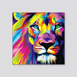 "Leo the trippy lion Square Sticker 3"" x 3"""