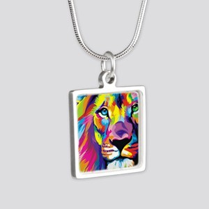 Leo the trippy lion Silver Square Necklace