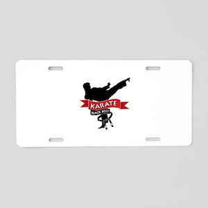 Karate Black Belt Aluminum License Plate